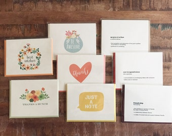 CLEARANCE! 8-pack Note Cards - Greeting Card Assortment, Assorted Blank Cards, Snail Mail / Pen Pal