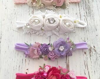 Baby Girl Headbands- Soft baby flower headbands- Newborn Headbands- baby photo props- headband set- baby girl gift