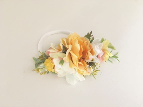 Marigold floral  nylon headband- Baby Girl Headband- flower crown headband- Baby Headband- Wdw Headband- Newborn Headband- Infant Headband-l