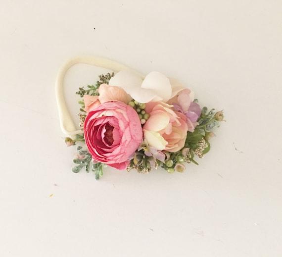 Coral Pink floral headband- Flower crown- Floral crown- Flower Girl- Spring Wedding- Dollcake -tutu du monde