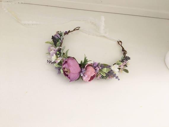 Purple lilac flower crown- Flower crown-Floral crown- Bridal flower Crown- Flower Girl- Spring Wedding- Well Dressed Wolf- Dollcake