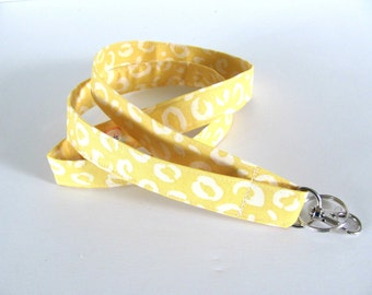 Teacher lanyard, yellow fabric lanyard key holder, ID badge lanyard
