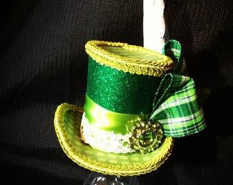 Green plaid polka dot and glitter mini top hat fascinator costume accessorie