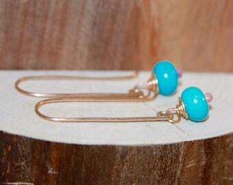 Turquoise Dangle Earrings, Blue 14k Gold Filled Long Dangle Earrings, Short Dangle Earrings, Sterling Silver Earrings, Handmade Earrings