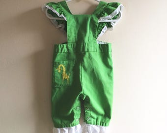 80's baby girl overalls pants romper 6-12 months