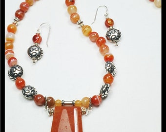 Set:  Gemstone and Sterling Silver Necklace with matching Earrings.  Vintage carnelian pendant stone. OOAK Handmade Jewelry.  Red brown gems