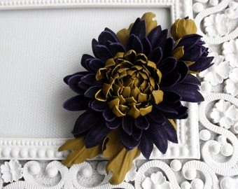 Violet Suede/Olive Green Leather Chrysanthemum Flower Brooch/ Hairclip
