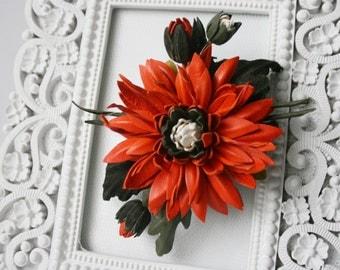Orange/Green Leather Chrysanthemum Flower Brooch/ Hairclip