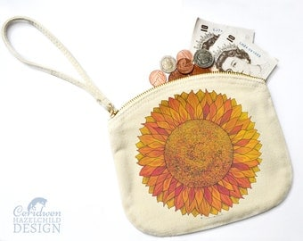 Sunflower Canvas Zip Purse, Makeup Bag, Coin Purse, Small Accessory Pouch