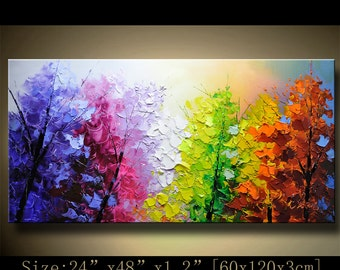 contemporary wall art,Palette Knife Painting,colorful Landscape painting,wall decor,Home Decor,Acrylic Textured Painting ON Canvas Chen 1227