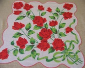 Big Vintage Scalloped Hanky with Red Roses Ribboned Bouquet