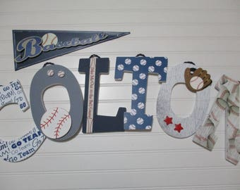 "COLTON - 12.00 PER LETTER, 9"" wooden nursery letters, baseball theme nursery, baseball bat and glove, vintage baseball, baseball name"