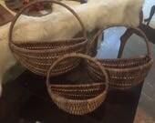 Vintage set three wall rattan wicker hanging plant baskets holders wall decor plants