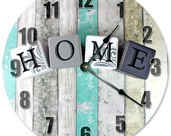 "HOME BLOCKS on TEAL Wood Clock - Large 10.5"" Wall Clock - 2185"