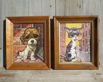 Vintage Pair of Big Eyes Pity Kitty / Pity Puppy Pictures Gig 1960's