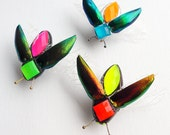 Neon Beetle Brooch, with real jewel beetle elytra (wing cases), fluorescent, Day-Glo beetle badge.