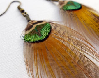 Feather Dangle Earrings, green, bronze and gold feather earrings, peacock and pheasant feathers