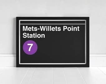 Mets-Willets Point Station - New York Subway Sign - Art Print