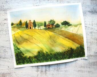 Toscana landscape original watercolor 11x14 Italy Italian summer watercolor nursery art