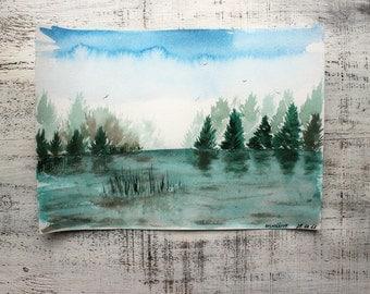 Woodland morning original watercolor painting 8x12 green grey brown water lake river fishing