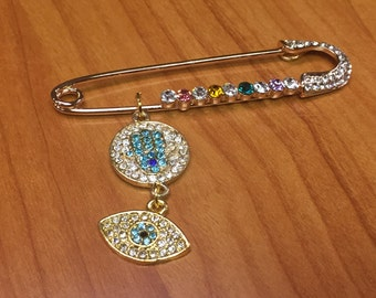 Safety pin Evil eye pin Hamsa Pin Chamsa Pin Hand of Fatima Pin New Baby pin Baby shower