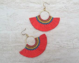 Tassel Hoop Earrings Red Tassel Fringe Earrings Tassle Earings BOHO Chic Earrings Gypsy Tassle Jewelry Trending Now Wholesale Jewelry