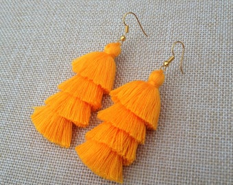 "Mango Tassel Earrings Layered Orange Tassle Earrings Tassel Drop Earrings Summer Jewelry 3"" Tassel Earrings"