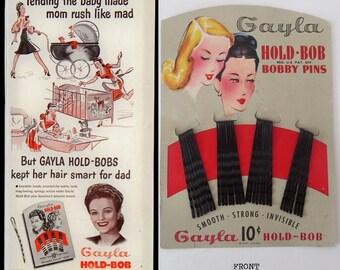 Gayla Hold Bob, Vintage Bobby Pins, 1947, Bobby Pins, Hair Clips, New On Card, Hair Pins, Hair Accessory, Gayla, Hair Stylist Gift, 30 Pins