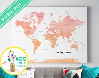Personalized Push Pin World Map Canvas Watercolor Pink Orange - Ready to Hang - 240 Pins + 198 World Flag Sticker Pack Included