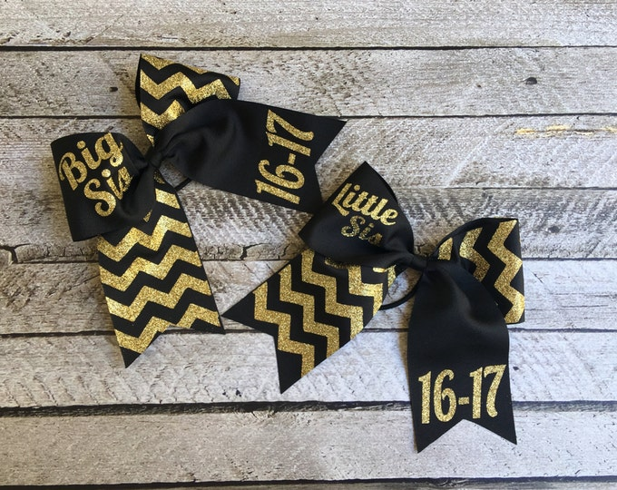Hair Bows, Cheer Bows, Big Sis, Little Sis, Sorority Sister Gifts, Monogrammed Gifts, Set of 2 Big Sis Little Sis Cheer Bows
