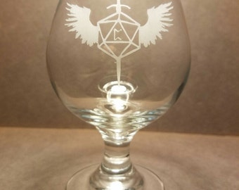 Winged D20 Belgian Beer Glass