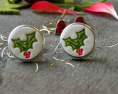 Unisex Christmas Gift Idea Holly Ceramic Cuff Links Novelty Gift Porcelain CuffLinks Father Boss Coworker Gift Red Green Holly Pottery