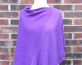 Pure Cashmere Poncho - Cashmere Cape Coat - Cashmere Knit Wrap -Nursing Poncho - Purple Knit Shawl - Violet Poncho - Knit Cashmere Poncho