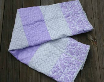 Sale!! Lavender and Gray Baby Quilt, Grey Lavender Crib Quilt, Lavender Gray Girl's Quilt, Pastel Gray Crib Baby Quilt