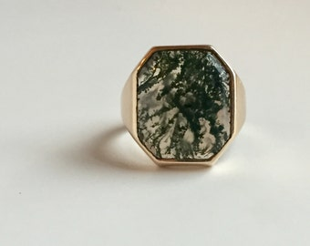 Moss Agate Ring in 10K Yellow Gold - Large Statement Ring - Scenic Octagonal Agate Men's Ring