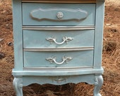 Vintage Nightstand Grey Goose Color with Silver Accents Two Drawers Local Pick Up Only