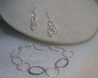 """Sterling Silver Wide Link Bracelet & Earrings, Pierced Dangle, 7"""", 6.25 gr"""