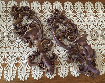 Sconces, Vintage, Baroque Style, Candleholders, Purple, Gold, Candle Sconces, Upcycled, Home Decor, Tapered Candle Holders, Wall Decor