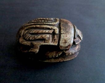 Vintage Stone Carved Egyptian Scarab Beetle