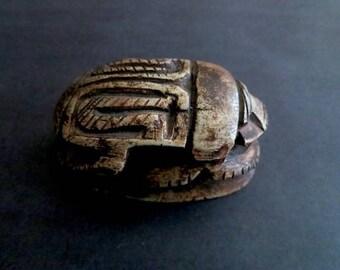 Vintage Stone Carved Egyptian Scarab Beetle