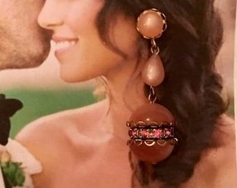 HOLIDAY SAVINGS Pink Rhinestone Earrings, Vintage 1950's Lucite Wedding Vintage Romance