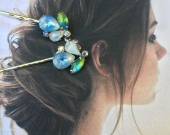 Bridal Blue Green JULIANA D & E Decorative Hair Pins Vintage 1940 1950 Molded Art Satin Glass Romantic Wedding Hairpins Bobby Pins