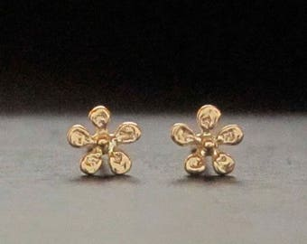 TINY gold flower, daisy stud, pair or single, solid 14k handmade in USA