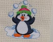 Juggling Penguin  Waffle Weave Towel - cream
