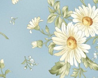 White Daisies on Blue - Cotton Quilting Fabric - Maywood Studio - FL-08