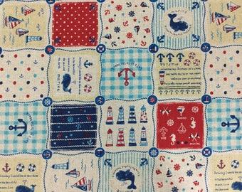Sailboats, Light Houses - Cotton-Linen Fabric - Goodtaste -  NAU-06