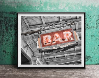 Bar Art - Vintage Neon Sign Photography Print photo