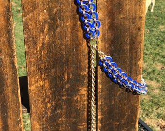 Vintage Chain Belt made with Plastic Blue and White Circles