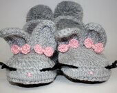 Suede Sole Slippers - Adult Bunny Slippers - Womens Slippers - Soft House Slippers - Cozy Slippers - Knitted Slippers - Handmade Slippers
