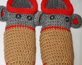 Womens Adult Homespun Sock Monkey Slippers